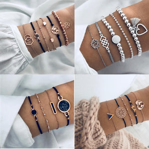 Boho Rose Map Bracelets & Bangles for Women Bohemian Round Beaded Charm Bracelet Set Fashion Multilayer Accessories 2019 Bijoux - Aptil Jewelery