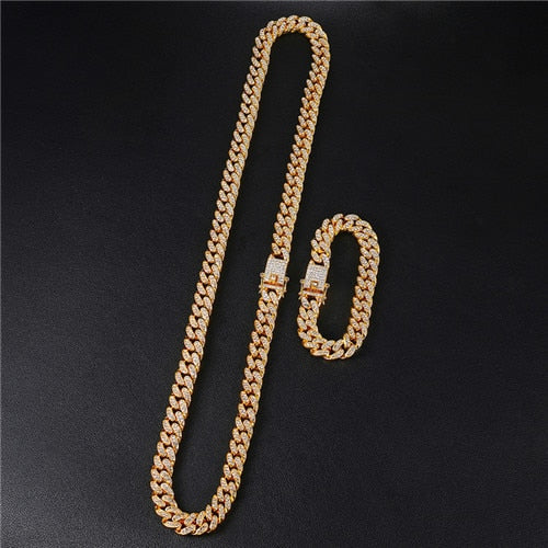 Iced Out Paved Rhinestones 1Set 13MM Gold Silver Full Miami Curb Cuban Chain CZ Bling Rapper Necklaces For Men Hip Hop Jewelry - Aptil Jewelery