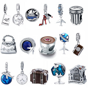 925 Sterling Silver Berloque Family House Eiffel Tower Camera Travel Dream Coffee Cup Shoes Charm Fit Charm Bracelet DIY Jewelry - Aptil Jewelery