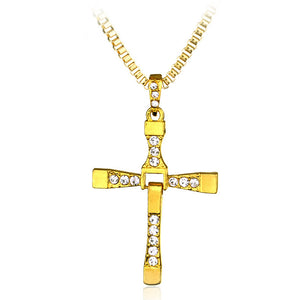 Classic Rhinestone Pendant Sliver Men Crystal Jesus Cross Pendant long Necklace Activities male Gift Jewelry accessory - Aptil Jewelery