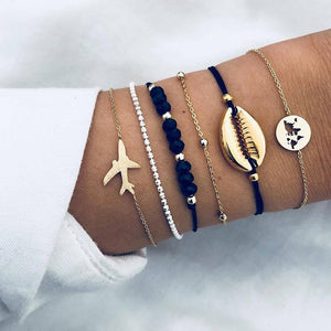 30 Styles Bohemian Bracelet Set For women Shell Star Map lotus pineapple Heart Natural stone Beads chains Bangle Boho Jewelry - Aptil Jewelery