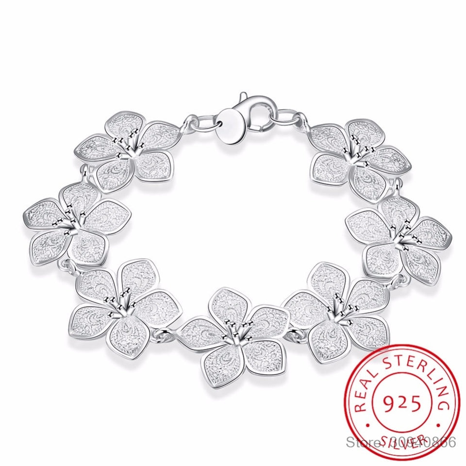 LEKANI hot sale 925 Sterling Silver Plum bracelet beautiful flowers for women classic high- quality fine jewelry - Aptil Jewelery
