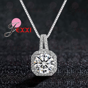 Genuine 925 Sterling Silver Super Shining Square Design Cubic Zircon Pendant Necklaces For Women Bridal Wedding Jewelry - Aptil Jewelery