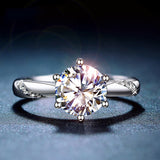 Classic 925 Sterling Silver Moissanite Ring 1ct IJ color Lab Diamond jewelry Simple style Anniversary Ring - Aptil Jewelery