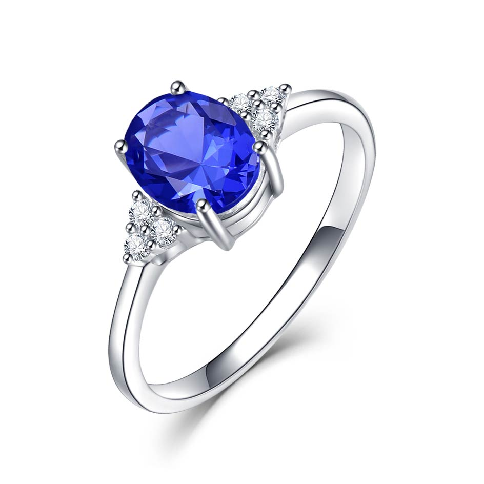 Kuololit Solid 925 Sterling Silver Rings For Women Created Tanzanite Gemstone Ring Wedding Engagement Band Fine Jewelry New - Aptil Jewelery