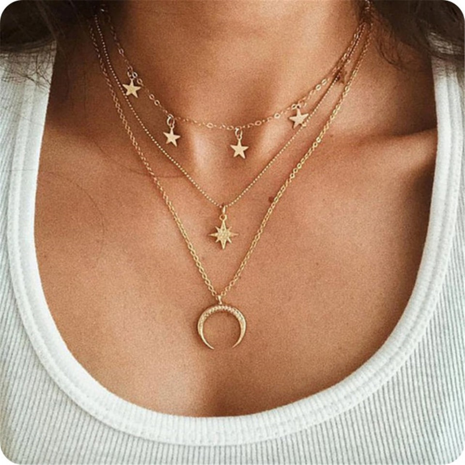 2019 Fashion Coin Figure Shell Rose Pendant Necklace Moon Crystal Choker Necklaces Women Holiday Beach Statement Boho Jewelry - Aptil Jewelery