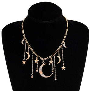 Star Moon Pendant Necklace for Women Girl Charms Choker Necklaces Party Jewelry Collars N2452 - Aptil Jewelery