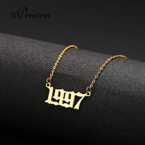 Special Date Old English Number Necklaces 1999 Birthday Gift Personalized Birth Year 1980-2019 Chokers Women Men Custom Jewelry - Aptil Jewelery