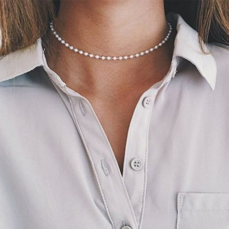 Vintage Gold Silver Color Simulated-pearl Chain Choker Necklace for Women Party Collar Necklace Fashion Wedding Jewelry Gift - Aptil Jewelery