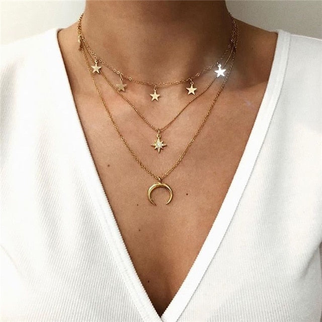 Boho Multi-element Crystal Necklaces For Women Fashion Gold Silver  Necklace Vintage Multiple Layers Pendant Necklace Jewelry - Aptil Jewelery