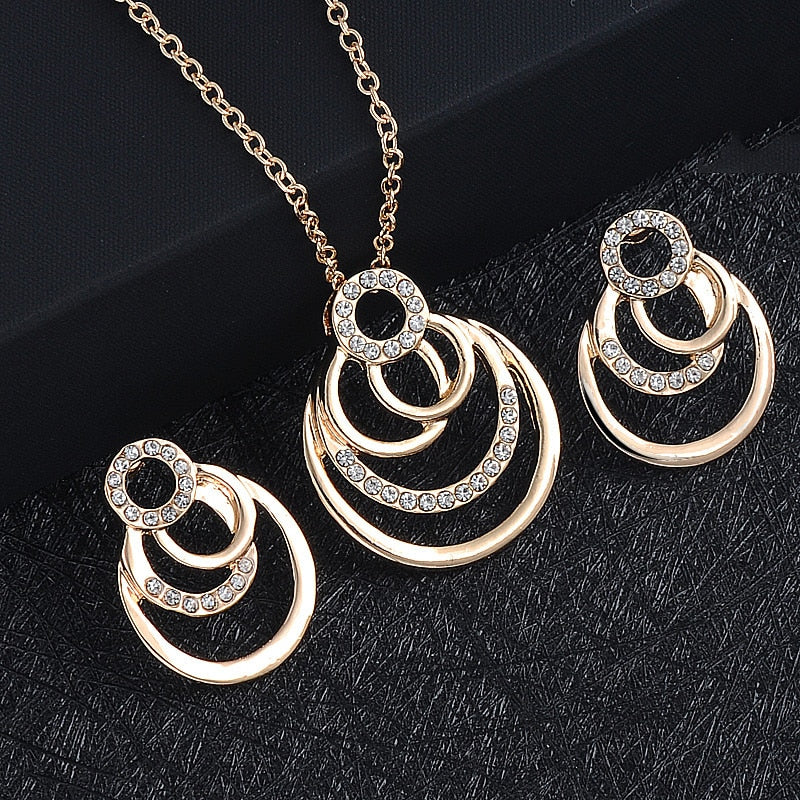 NEW Fashion Gold Color Geometric circle Rock Punk Stud Earrings/necklace Jewelry Set For Woman Birthday Wedding Jewelry Gift set - Aptil-jewelery - jewelry website