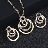 NEW Fashion Gold Color Geometric circle Rock Punk Stud Earrings/necklace Jewelry Set For Woman Birthday Wedding Jewelry Gift set - Aptil Jewelery