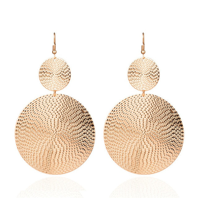 Gold color earrings bohemian statement luxury big round earring crystal acrylic handmade women geometric fringe fashion jewelry - Aptil Jewelery
