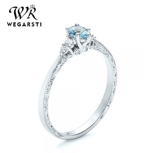 WEGARASTI Silver 925 Jewelry Ring Aquamarine Trendy Party Round Classic 925 Sterling Silver Rings Jewelry Woman Engagement Gift - Aptil Jewelery