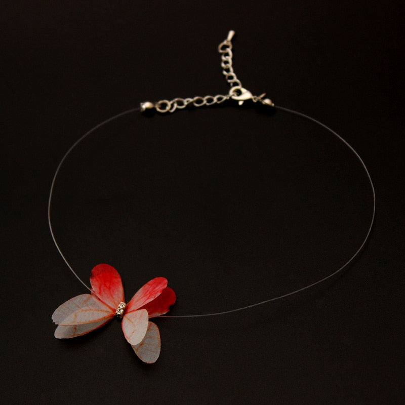 Transparent Invisible Fishing Line Chain Choker Necklace Women Multicolor Butterfly Pendant Necklaces Charm Collana Jewelry - Aptil-jewelery - jewelry website