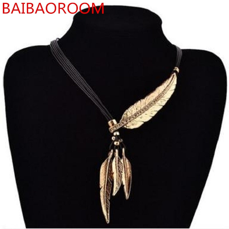 Women Necklace Alloy Feather Statement Necklaces Pendants Vintage Jewelry Rope Chain Necklace Women Accessories for Gift - Aptil Jewelery