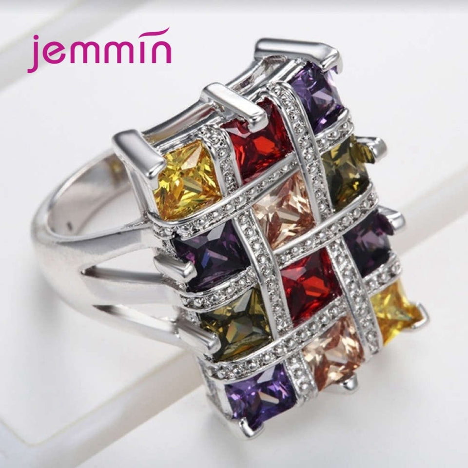 Boutique Women 925 Sterling Silver Colorful Geometric Rings Square Big Cubic Zircon Romantic Promise Engagement Jewelry - Aptil Jewelery