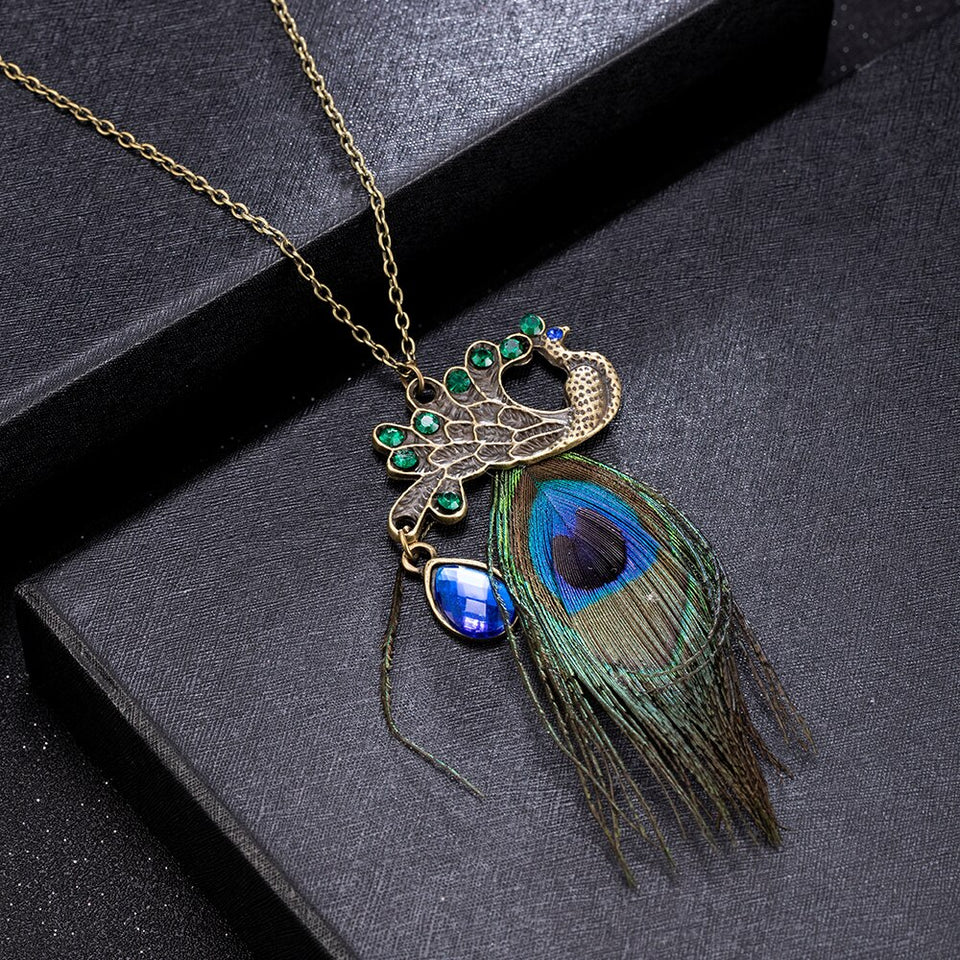 High Quality Women Girl Vintage Peacock Feather Pendant Metal Sweater Long Chain Necklace Party Jewelry Necklaces - Aptil Jewelery