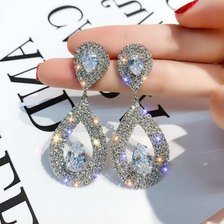 Zircons Classic Water Drop Shaped Cubic Zirconia Crystal Bridal Earrings Wedding Jewelry For Brides Bridesmaid - Aptil Jewelery