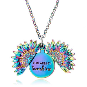 Sunflower Double-layer Engraved You are my Sunshine Pendant Necklaces Alloy Flower Openable Long Chain Necklace Women Jewelry - Aptil Jewelery
