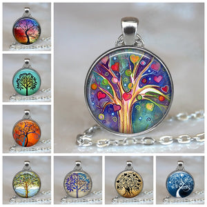 Tree Of Life Glass Cabochon Statement Necklace & Pendant Jewelry Vintage Silver Chain Choker Steampunk Jewelry Gift for Women - Aptil Jewelery