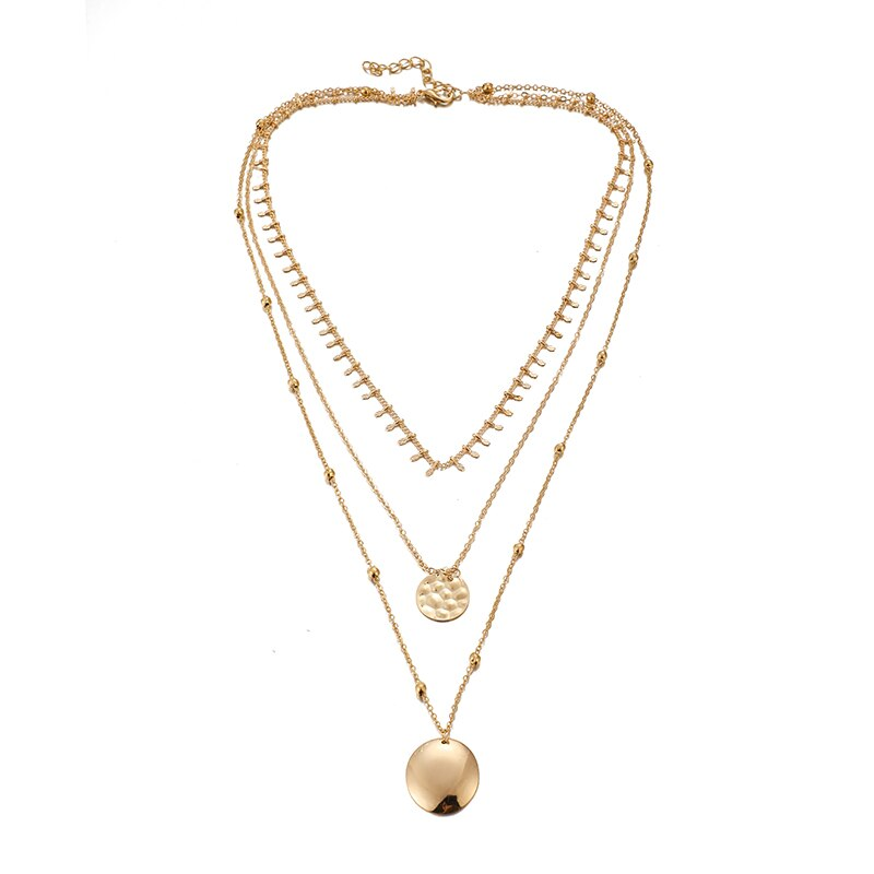 Tocona Charms Gold Color Chain Chockers Necklace Fashion Round Geometry Pendant Jewelry for Women Accessories Wholesale 8279 - Aptil Jewelery