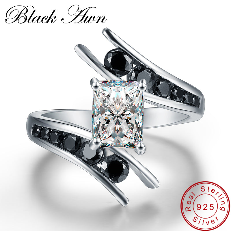 [BLACK AWN] Fine Jewelry 3.9 Gram 100% Genuine 925 Sterling Silver Row Black Stone Engagement Rings for Women Bague C299 - Aptil Jewelery