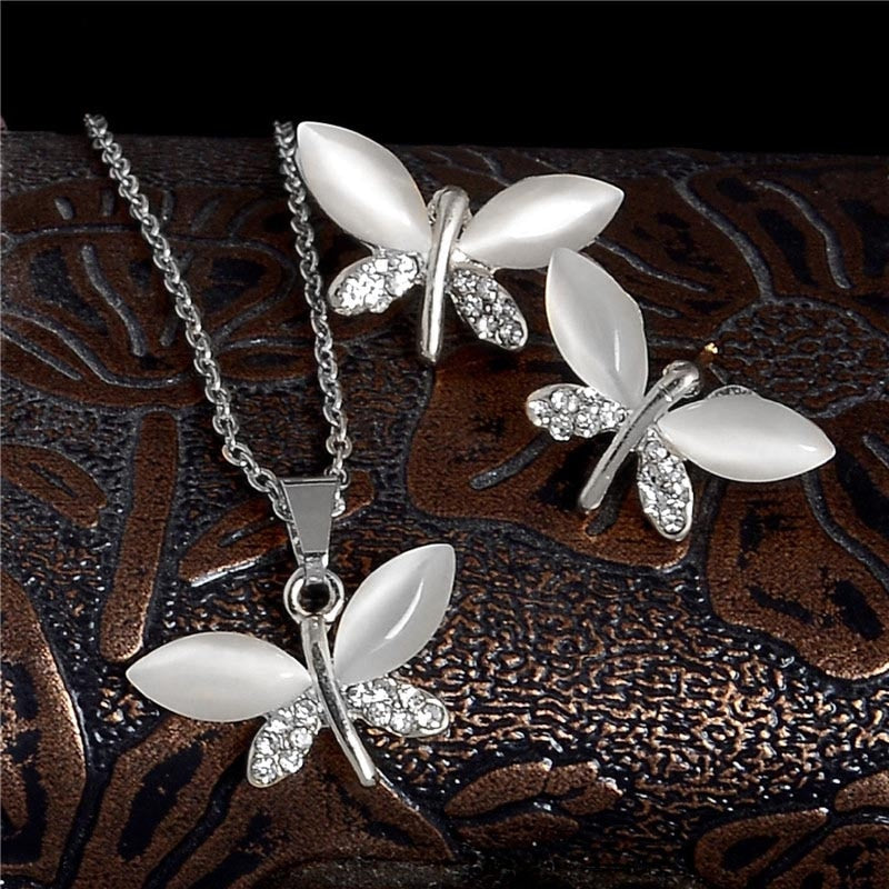 SHUANGR Natural Stone Butterfly Jewelry Sets For Women Gold-color Chain Champagne Pendant Necklace Earrings bijoux femme - Aptil-jewelery - jewelry website