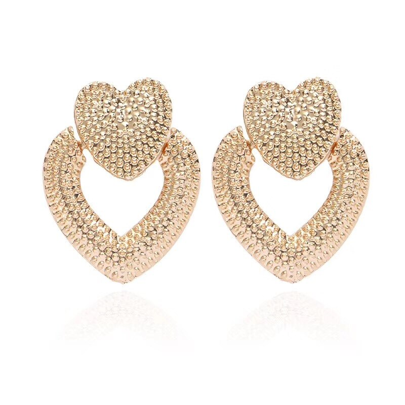 Ufavoirte NEW trend 2019 Vintage Earrings for women gold color Geometric statement heart metal earing Hanging fashion jewelry - Aptil Jewelery
