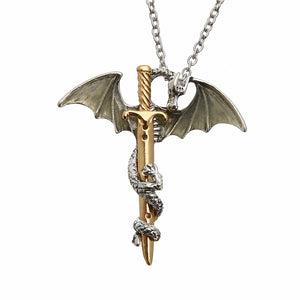 Vintage Glow in the Dark Sword Dragon Pendant Necklace For Mens Punk Luminous Dragon Long Chain Necklace Women Hip Hop Jewelry - Aptil Jewelery