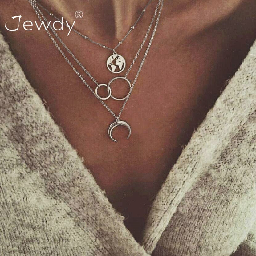 3 PCS/Set Fashion Moon Circle Map Pendant Necklace for Women Jewelry Earth Choker Multilayer Bijoux Collares Mujer Collier Femme - Aptil Jewelery