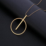 Simple Big Round Pendant Necklace Women Minimalist Gold Circle Long Necklace Elegant Collier femme 2019 Fashion Jewelry Her Gift - Aptil Jewelery