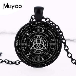 2017 New Pagan Wheel Of The Year Necklaces Pentagram Pendant Round Photo Wiccan Jewelry Glass Cabochon Necklace Link Chain HZ1 - Aptil Jewelery