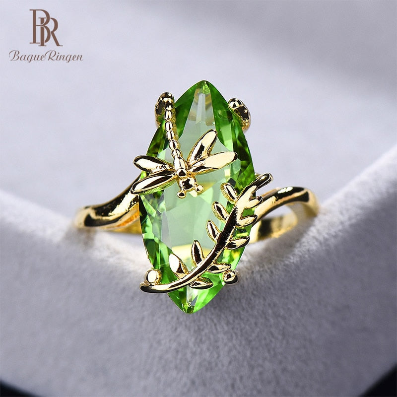 Bague Ringen 100% S925 Sterling Silver Ring with oval emerald gemstone for Women Engagement Jewelry For Wedding wholesale gift - Aptil Jewelery