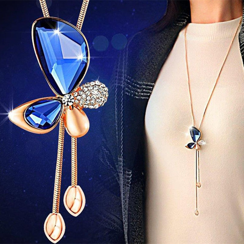 hot sell  Classic Crystal Butterfly Tassel Long Necklace Women Bijoux New Fashion Jewelry Necklaces & Pendants Gift - Aptil Jewelery