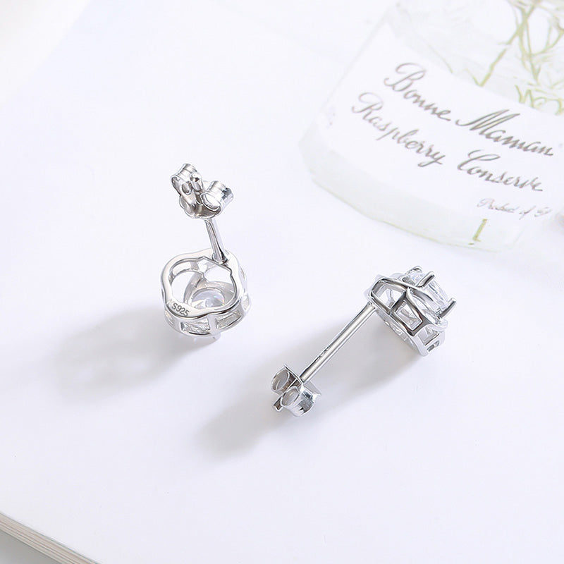 Kameraon 925 Sterling Silve Lotus Small Stud Earrings Women Crystals Catkins With Zircon Stones Earing Party Shine Jewelry - Aptil Jewelery