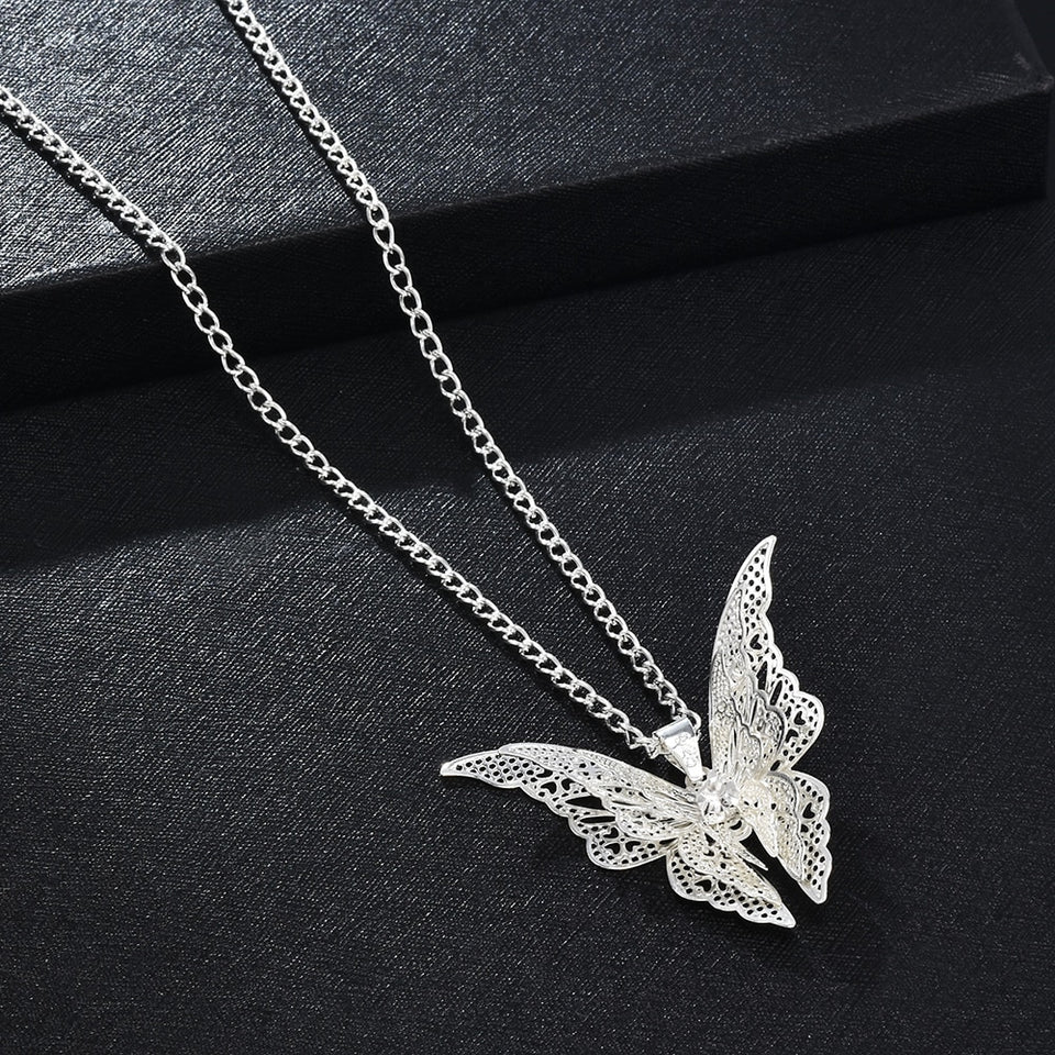 2020 High Quanlity Women Lady Elegant Openwork Butterfly Pendant Long Chain Necklace Sweater Accessories Necklace Jewelry - Aptil Jewelery