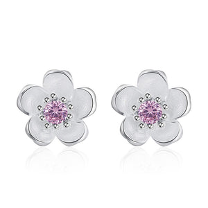 XIYANIKE 925 Sterling Silver Handmade Flower Crystal Stud Earrings For Women Multi-Color Charm Zircon Small Ear Hoops Jewelry - Aptil Jewelery