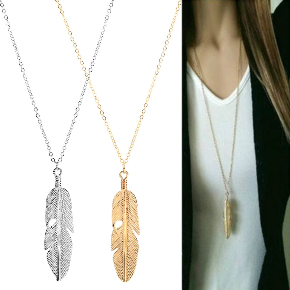 Fashion Simple Gold Color Meter Feather Pendant Necklace for Women Leaf Shaped Female Long Sweater Chain Girls Jewelry Gifts - Aptil Jewelery
