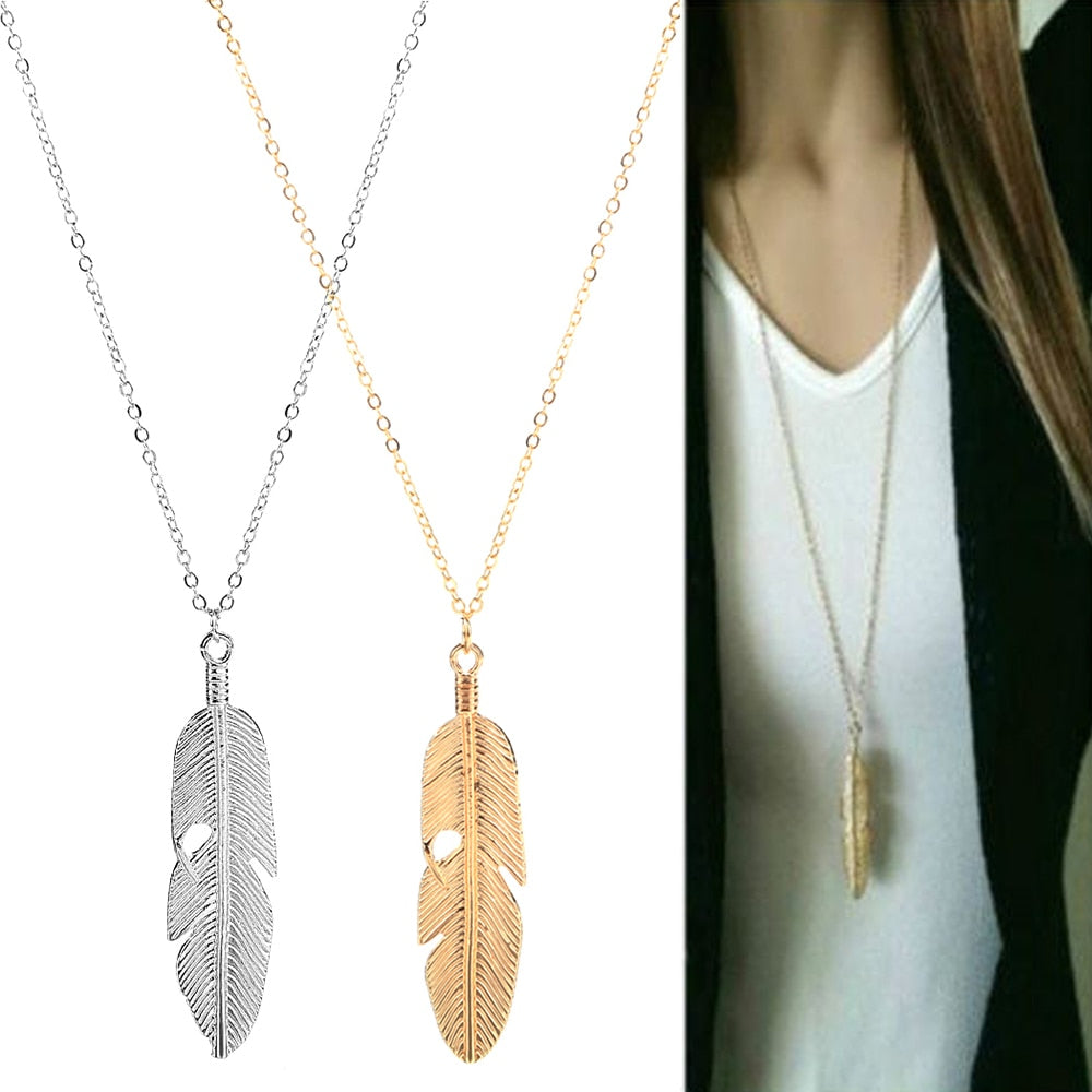 Fashion Simple Gold Color Meter Feather Pendant Necklace for Women Leaf Shaped Female Long Sweater Chain Girls Jewelry Gifts - Aptil-jewelery - jewelry website