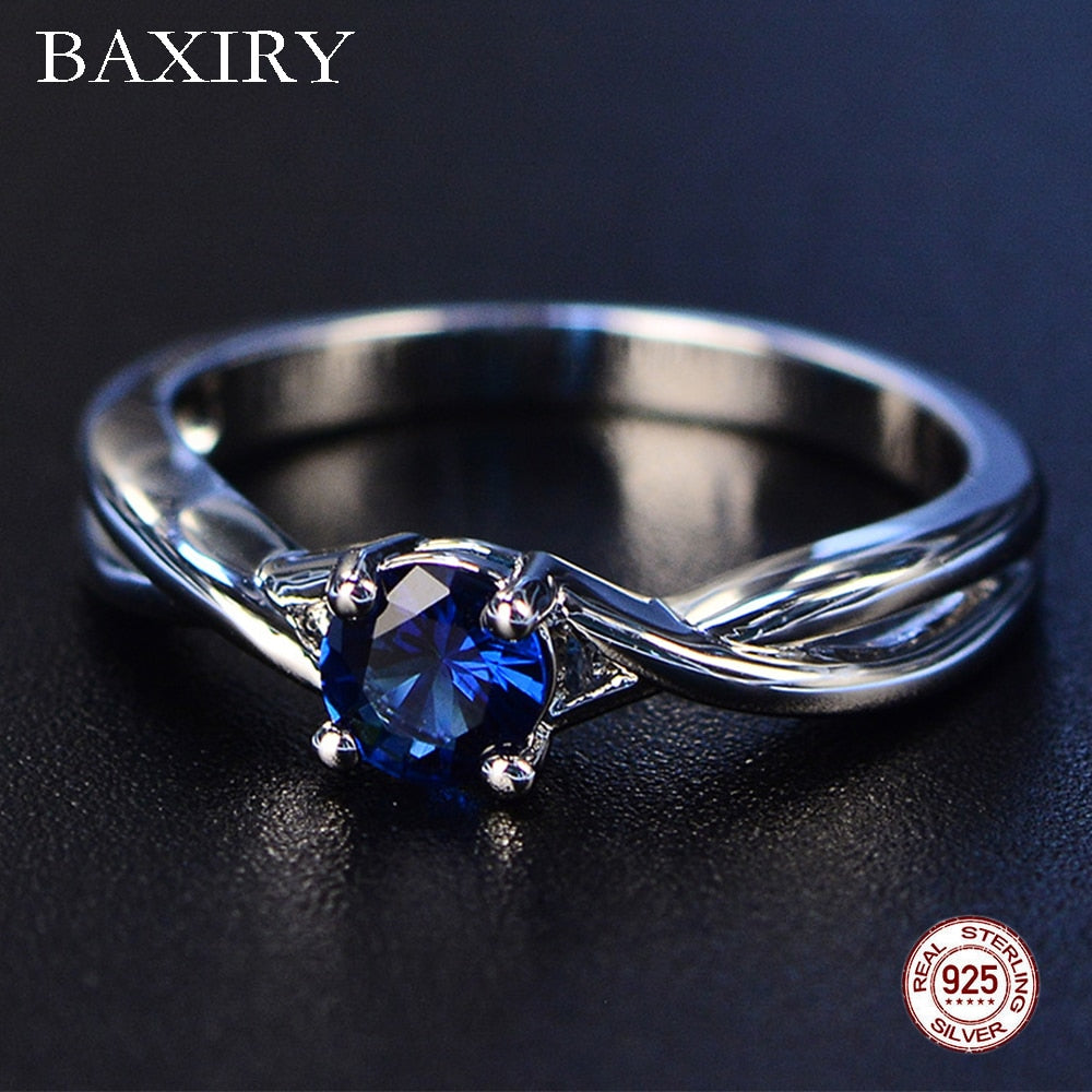 Trendy Gemstones Amethyst Silver Ring Blue Sapphire Ring Silver 925 Jewelry Aquamarine Ring For Women Engagement Rings - Aptil-jewelery - jewelry website