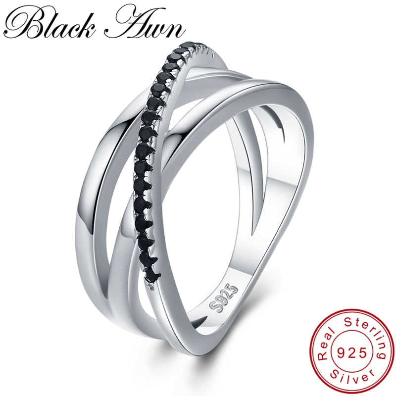 Classic 3.9g 925 Sterling Silver Fine Jewelry Baguet Row Engagement Black Spinel Wedding Rings for Women Bijoux Femme G006 - Aptil Jewelery