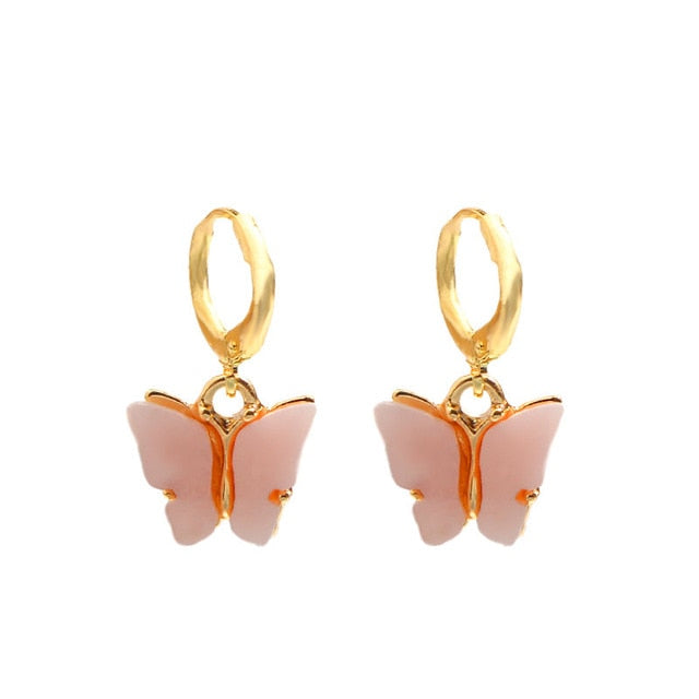 Flatfoosie New Fashion Women Butterfly Drop Earrings Animal Sweet Colorful Acrylic Earrings 2019 Statement Girls Party Jewelry - Aptil Jewelery