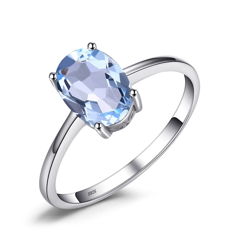 JewelryPalace Genuine Blue Topaz Ring Solitaire 925 Sterling Silver Rings for Women Engagement Ring Silver 925 Gemstones Jewelry - Aptil Jewelery