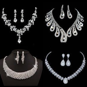 9 Styles Bridal Jewelry Sets for Women Silver - Aptil Jewelery