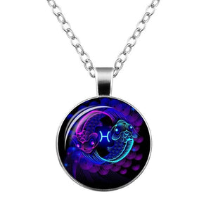 12 Zodiac Sign Pendant Necklace Glass Cabochon Double Galaxy Constellation Horoscope Astrology Necklace For Women Men Jewelry - Aptil-jewelery - jewelry website