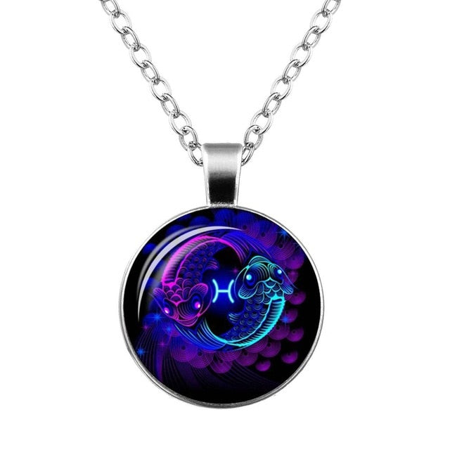 12 Zodiac Sign Pendant Necklace Glass Cabochon Double Galaxy Constellation Horoscope Astrology Necklace For Women Men Jewelry - Aptil Jewelery
