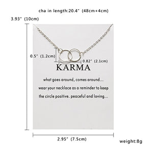 Rinhoo New Gold Color Karma Double Circle Alloy Choker Pendant Short Necklace Women Lady Jewelry Gift - Aptil Jewelery