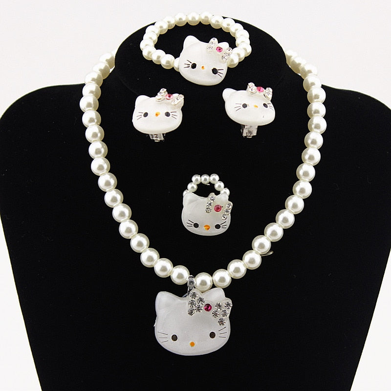 Kids Baby Girls Princess necklaces Crystal KT Cat Necklace Imitation Pearl Beads Jewelry Ring Set Children Party Xmas Gifts - Aptil Jewelery