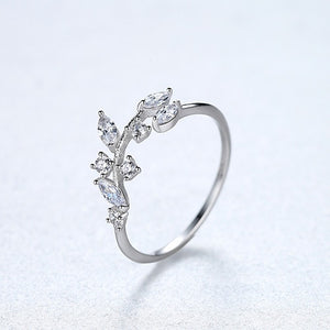 CZCITY Korean 925 Sterling Silver Handmade Olive Leaf Rings for Women Exquisite CZ Stone Adjustable Open Ring Silver 925 Jewelry - Aptil Jewelery